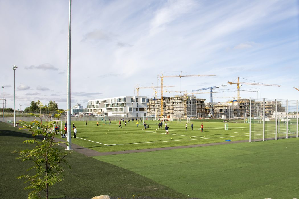 Reykjavik, Iceland, July2019: soccer sports field with kids training for football in Iceland