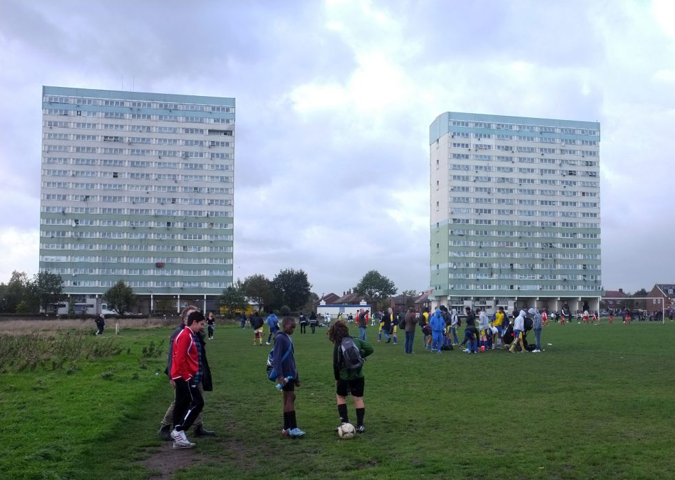 London, United Kingdom - October 28, 2013: Local young players get ready for a Sunday match on Wansted Flats playing fields in London.